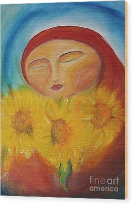 Sunflower Madonna Wood Print by Teresa Hutto