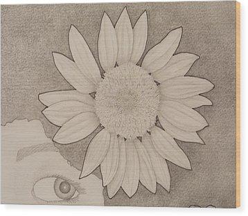 Sunflower Peeping Eye Wood Print by Aaron El-Amin