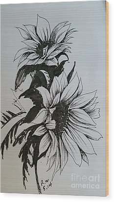 Wood Print featuring the drawing Sunflower by Rose Wang