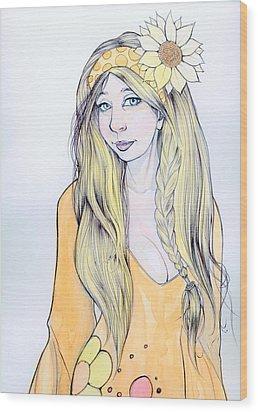Sunflower Sara Wood Print