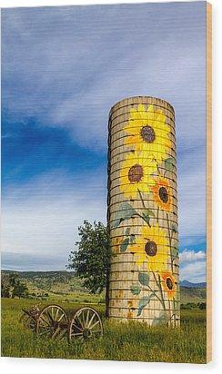 Sunflower Silo Wood Print by Teri Virbickis