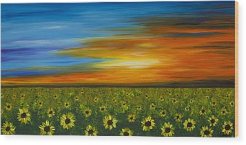Sunflower Sunset - Flower Art By Sharon Cummings Wood Print by Sharon Cummings
