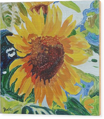 Sunflower Tile  Wood Print