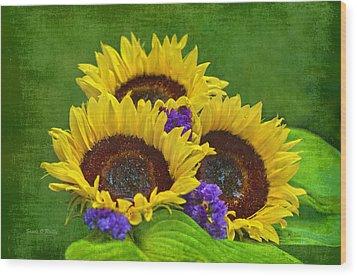Sunflower Trio Wood Print by Sandi OReilly