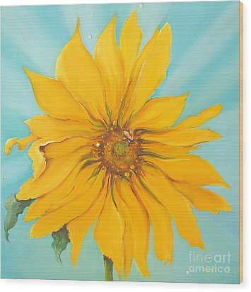 Sunflower With Bee Wood Print by Bettina Star-Rose
