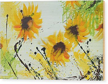 Sunflowers - Abstract Painting Wood Print by Ismeta Gruenwald