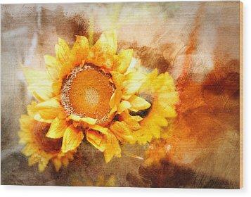 Sunflowers Aglow Wood Print