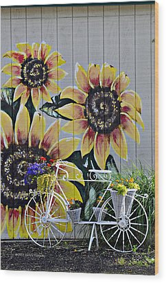 Sunflowers And Bicycle Wood Print by Kenny Francis