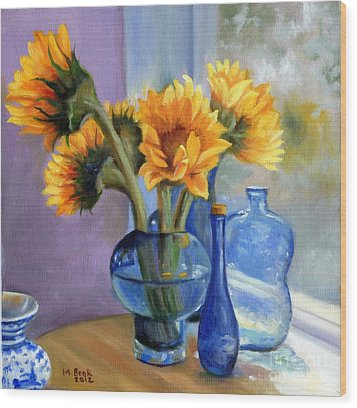 Sunflowers And Blue Bottles Wood Print