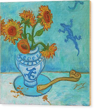Wood Print featuring the painting Sunflowers And Lizards by Xueling Zou