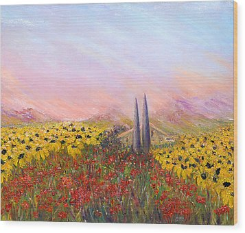 Sunflowers And Poppies Wood Print