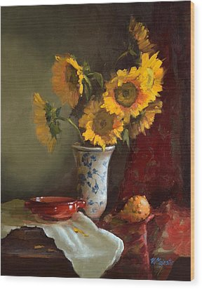 Sunflowers And Red Saucer Wood Print