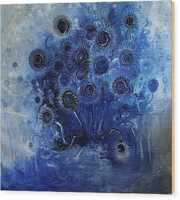 Sunflowers Blue Wood Print by Hermes Delicio