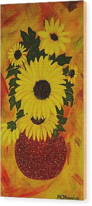 Wood Print featuring the painting Sunflowers by Celeste Manning
