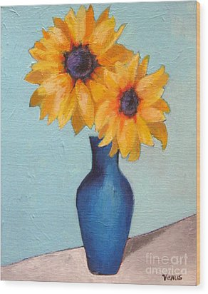 Sunflowers In A Blue Vase Wood Print by Venus