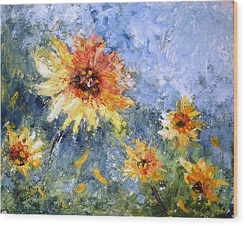 Sunflowers In Bloom Wood Print by Mary Spyridon Thompson