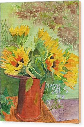 Sunflowers In Copper Wood Print by Lynne Reichhart