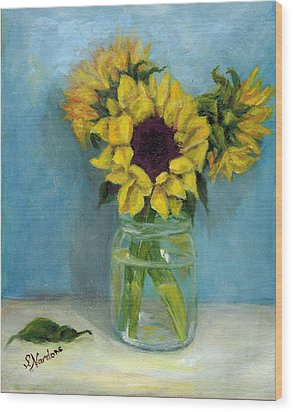 Wood Print featuring the painting Sunflowers In Mason Jar by Sandra Nardone