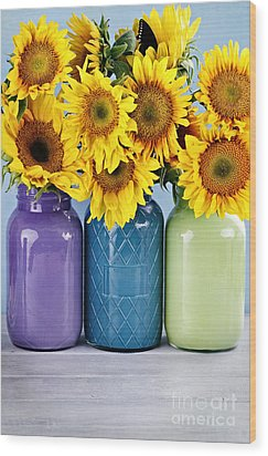 Sunflowers In Painted Mason Jars Wood Print by Stephanie Frey