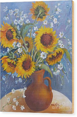 Wood Print featuring the painting Sunflowers In Pitcher by Marta Styk