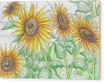 Wood Print featuring the painting Sunflowers In The George Garden by The GYPSY And DEBBIE