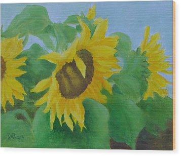 Sunflowers In The Wind Colorful Original Sunflower Art Oil Painting Artist K Joann Russell           Wood Print