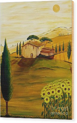 Sunflowers In Tuscany Wood Print by Christine Huwer