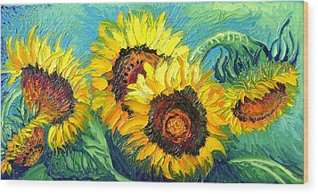 Sunflowers Wood Print by Isabelle Gervais