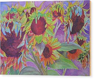 Sunflowers Wood Print by Joshua Morton