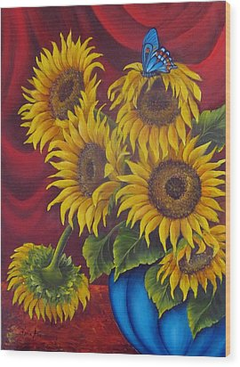 Sunflowers Wood Print by Katia Aho