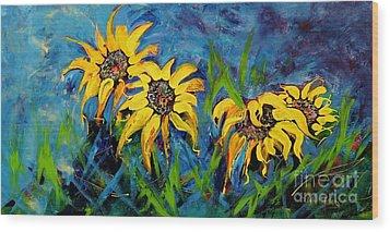 Sunflowers Wood Print by Lyn Olsen