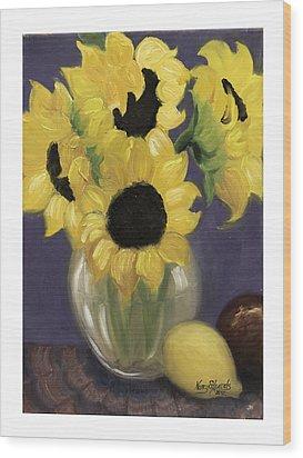 Sunflowers Wood Print by Nancy Edwards