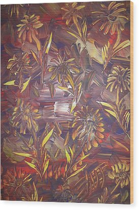 Wood Print featuring the painting Sunflowers by Nico Bielow