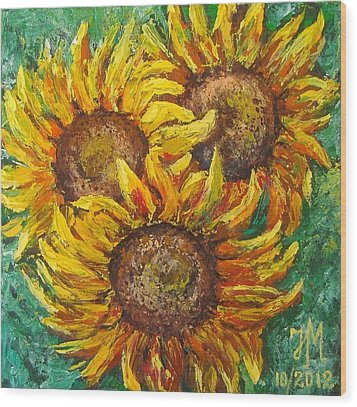Sunflowers Wood Print by Nina Mitkova