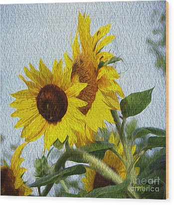 Wood Print featuring the photograph Sunflowers Of The East by Ecinja Art Works