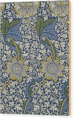 Sunflowers On Blue Pattern Wood Print by William Morris