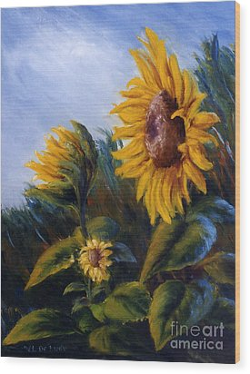 Wood Print featuring the painting Sunflowers On Green Hill Under Blue Sky by Lenora  De Lude
