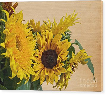 Sunflowers On Old Paper Background Art Prints Wood Print
