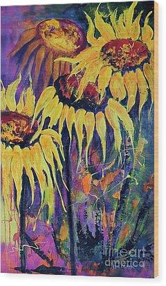 Sunflowers On Purple Wood Print by Lyn Olsen