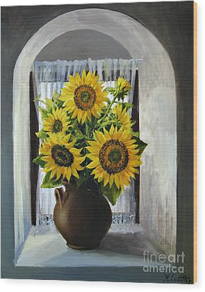 Sunflowers On The Window Wood Print by Kiril Stanchev
