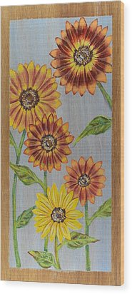 Sunflowers On Wood Panel I Wood Print by Elizabeth Golden