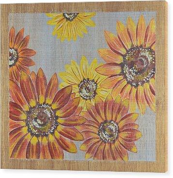 Sunflowers On Wood Panel II Wood Print by Elizabeth Golden