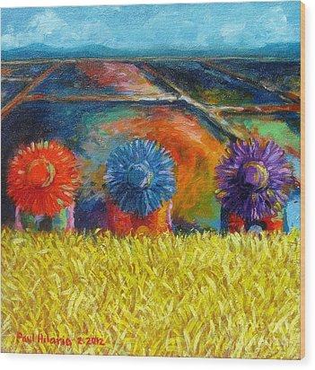 Sunflowers Wood Print by Paul Hilario