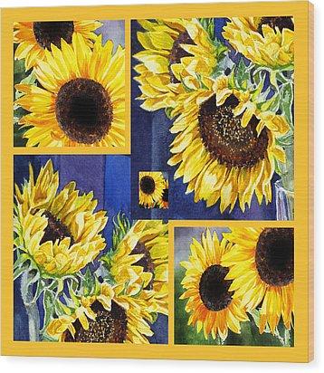Sunflowers Sunny Collage Wood Print by Irina Sztukowski