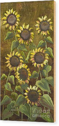 Sunflowers With Gold Leaf By Vic Mastis Wood Print by Vic  Mastis