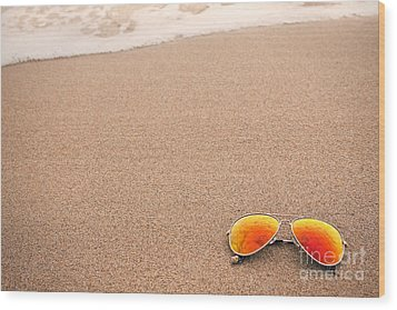 Sunglasses On The Beach Wood Print by Sharon Dominick