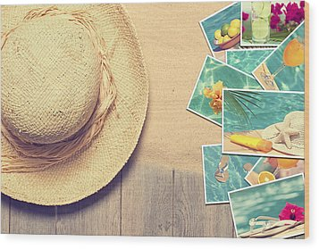 Sunhat And Postcards Wood Print by Amanda Elwell