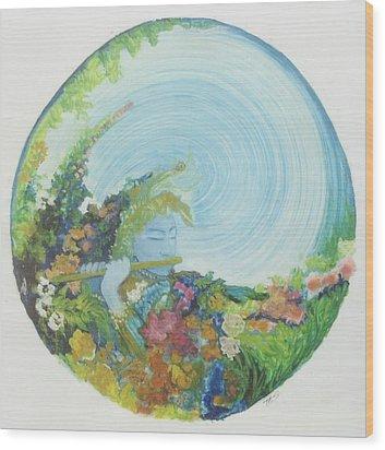 Reflection In The Sunken Tea Garden Wood Print