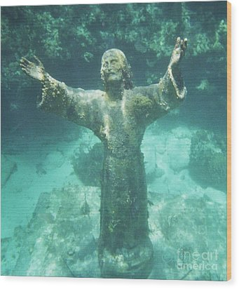 Sunken Savior Wood Print by Robert ONeil