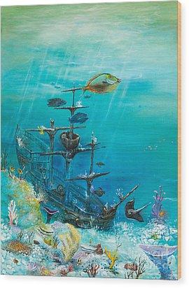Sunken Ship Habitat Wood Print by John Garland  Tyson
